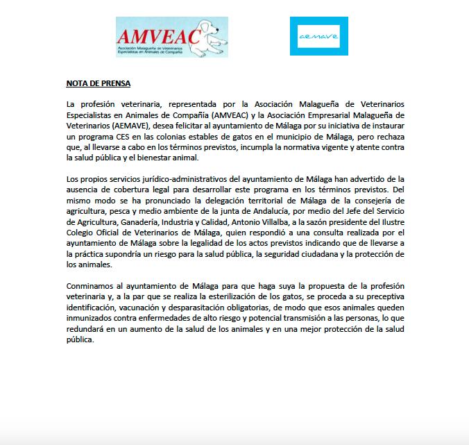 Sobre la implantación del Programa CES de gatos (captura, esterilización y suelta) en Málaga